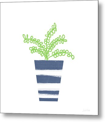 Metal Print featuring the mixed media Potted Plant 1- Art By Linda Woods by Linda Woods