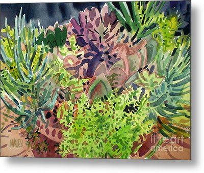 Potted Succulents Metal Print by Donald Maier