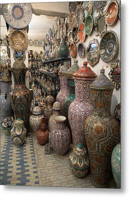 Pottery In Sales Room, Fes, Morocco Metal Print