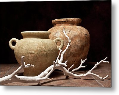 Pottery With Branch I Metal Print