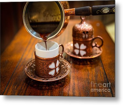 Poured Turkish Coffee Metal Print by Inge Johnsson