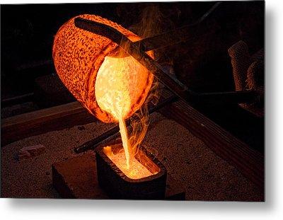 Pouring A 90oz Gold Bar Metal Print
