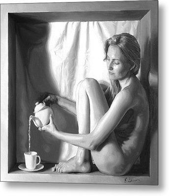 Pouring Tea Metal Print by E Gibbons