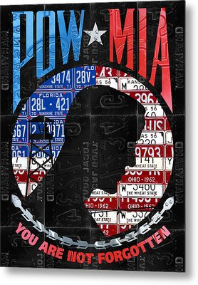 Pow Mia You Are Not Forgotten Recycled Vintage American License Plate Art Metal Print