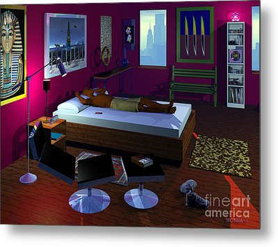 Power Napping Metal Print by Walter Oliver Neal