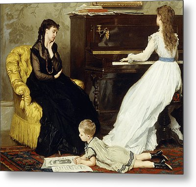 Practicing Metal Print by Gustave Leonard de Jonghe