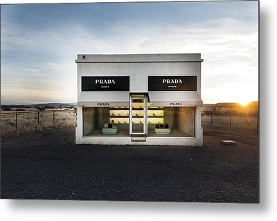 Prada Marfa Is A Permanently Installed Sculpture By Elmgreen And Dragset Near The Town Of Valentine Metal Print