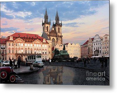 Prague After The Rain Metal Print