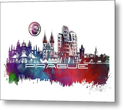 Prague Art Skyline Metal Print