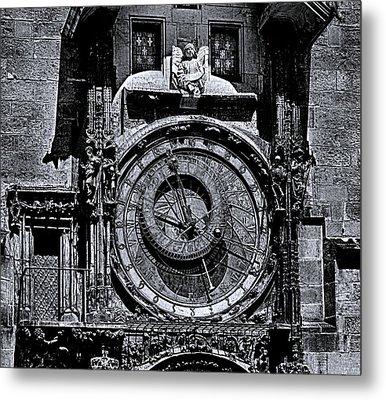 Prague Astronomical Clock 2 Bw Metal Print
