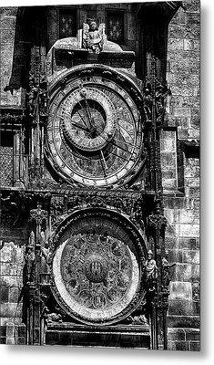 Prague Astronomical Clock Bw Metal Print