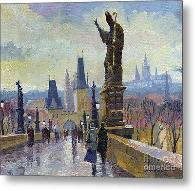 Prague Charles Bridge 04 Metal Print by Yuriy  Shevchuk