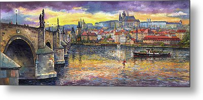 Prague Charles Bridge And Prague Castle With The Vltava River 1 Metal Print
