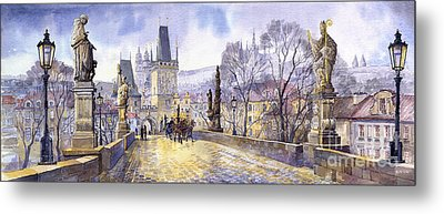 Prague Charles Bridge Mala Strana  Metal Print