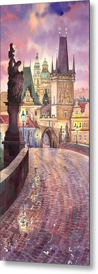 Prague Charles Bridge Night Light 1 Metal Print