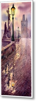 Prague Charles Bridge Night Light Metal Print by Yuriy  Shevchuk