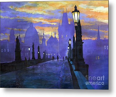 Prague Charles Bridge Sunrise Metal Print by Yuriy  Shevchuk