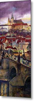 Prague Charles Bridge With The Prague Castle Metal Print by Yuriy  Shevchuk