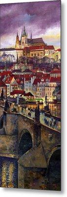 Prague Charles Bridge With The Prague Castle Metal Print by Yuriy  Shevchuk