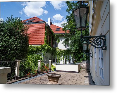 Metal Print featuring the photograph Prague Courtyards. Old Lantern by Jenny Rainbow