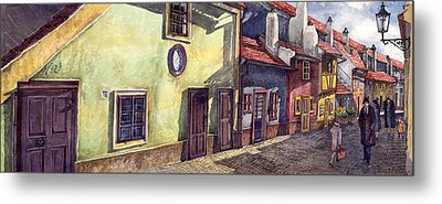 Prague Golden Line Street Metal Print by Yuriy  Shevchuk