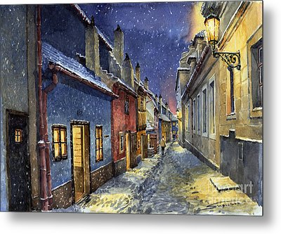 Prague Golden Line Winter Metal Print by Yuriy  Shevchuk