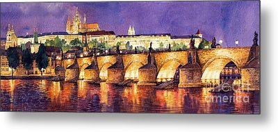 Prague Night Panorama Charles Bridge  Metal Print by Yuriy  Shevchuk