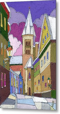 Prague Old Street Jilska Winter Metal Print