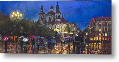 Prague Old Town Square St Nikolas Ch Metal Print by Yuriy  Shevchuk