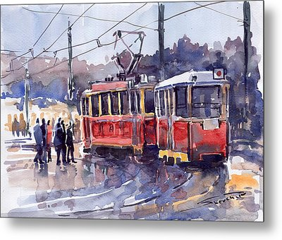 Prague Old Tram 01 Metal Print by Yuriy  Shevchuk