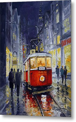 Prague Old Tram 06 Metal Print by Yuriy  Shevchuk