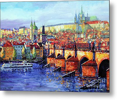 Prague Panorama Charles Bridge 07 Metal Print