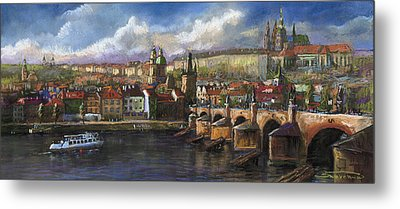 Prague Panorama Charles Bridge Prague Castle Metal Print