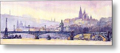 Prague Panorama Chehuv Bridge Metal Print by Yuriy  Shevchuk