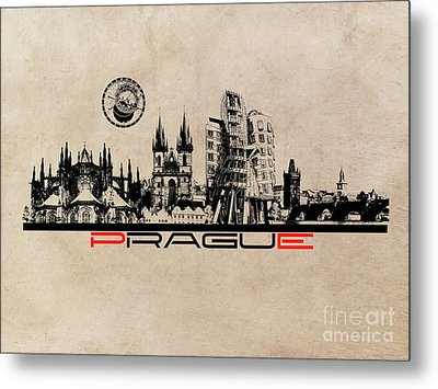 Prague Skyline City Metal Print