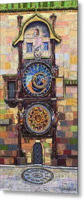 Prague The Horologue At Oldtownhall Metal Print by Yuriy  Shevchuk