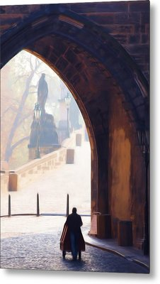Praha Push Cart Artist Metal Print by Shawn Wallwork