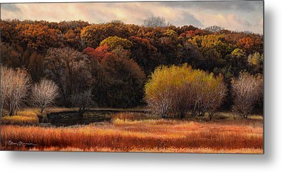 Prairie Autumn Stream Metal Print