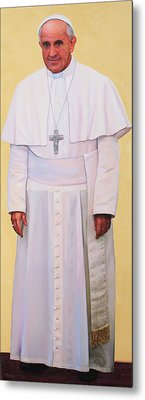 Pray For Me Portrait Of Pope Francis Metal Print by Richard Barone