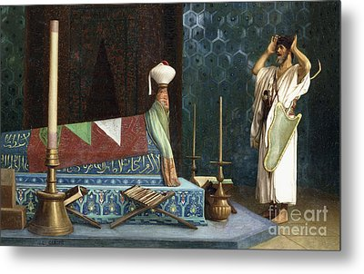 Prayer At The Sultan's Room  The Grief Of Akubar  Metal Print by Jean Leon Gerome