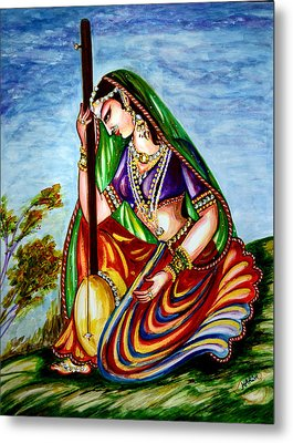 Krishna - Prayer Metal Print