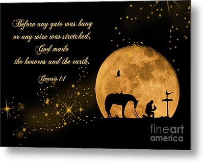 Metal Print featuring the photograph Prayer Of A Cowboy by Bonnie Barry