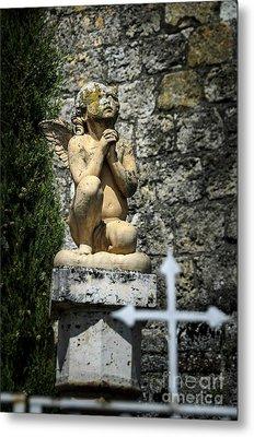 Praying Angel In Auvillar Cemetery Metal Print by RicardMN Photography
