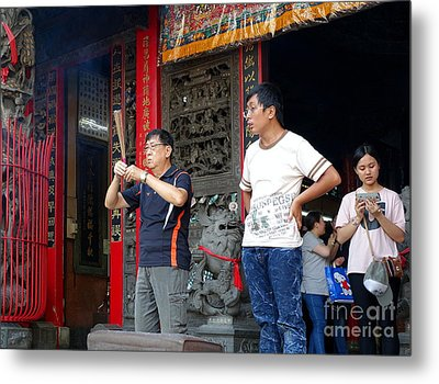 Metal Print featuring the photograph Praying At A Temple In Taiwan by Yali Shi