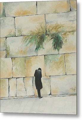 Praying At The Western Wall Metal Print by Miriam Leah