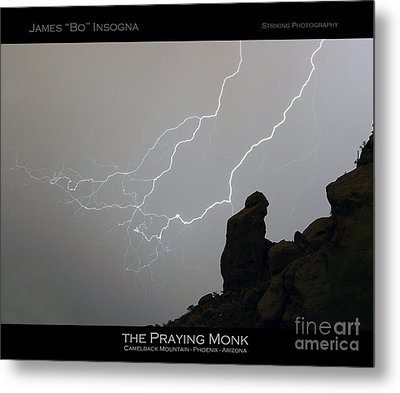 Praying Monk Lightning Striking Poster Print Metal Print
