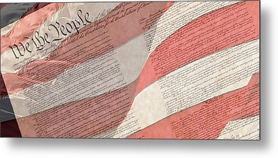 Preamble Of The Constitution Of The United States With Us Flag Metal Print by Jack R Perry