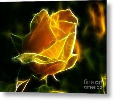 Precious Yellow Flower Diamond Style Metal Print