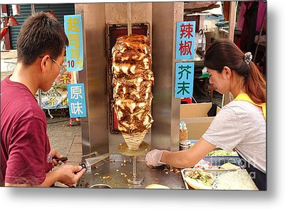 Metal Print featuring the photograph Preparing Shawarma Meat In Bread Buns by Yali Shi