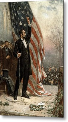 Metal Print featuring the photograph President Abraham Lincoln - American Flag by International  Images